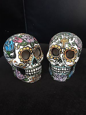 Bride Groom Sugar Skulls  Day Of The Dead  Hand Painted Wedding Cake Topper