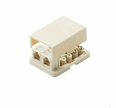 Steren 300-146IV Ivory 4C Dual Telephone Surface Jack