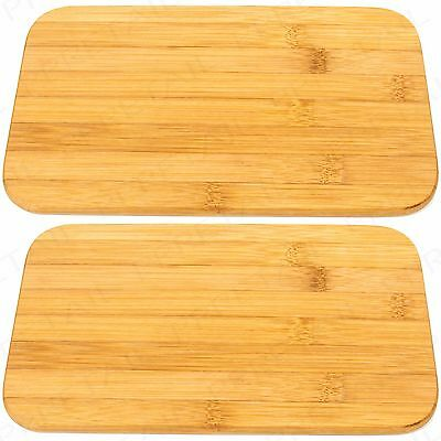 2x SOLID BAMBOO WOODEN BREAKFAST PLATE Dinner Food Serving Platter Cutting Board