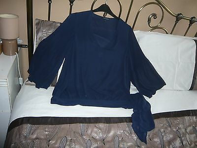 French Connection Blue Chiffon Top With Flared Sleeves Size 16