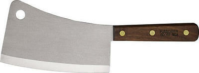 """Victorinox 40091 Stainless Cleaver 7"""" Cutting Edge Brown Wood Handles"""