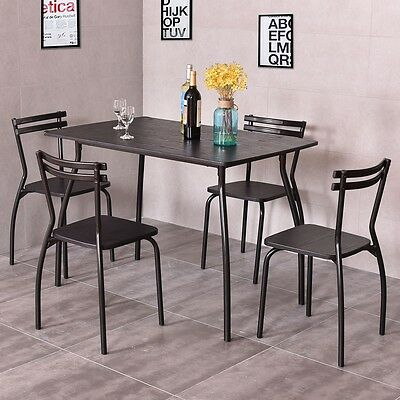 5 pcs Wood And Metal Dining Set Table and 4 Chairs Kitchen Modern Furniture US
