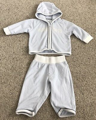 Hugo Boss Boys Tracksuit, Age 3 Months, Blue, In Excellent Condition.