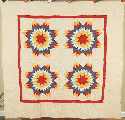 GORGEOUS Vintage 1890's Four Block Touching Stars Antique Quilt ~NICE COLORS!