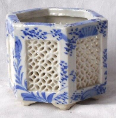 C19Th Chinese Blue And White Reticulate Vase