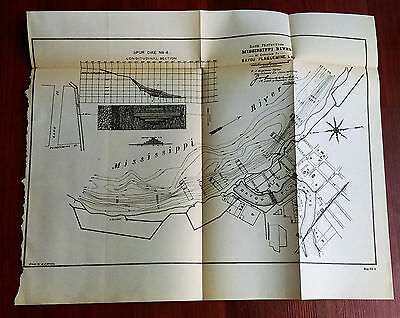 1892 Bank Protection Mississippi River Bayou Plaquemine Louisiana Map Diagram