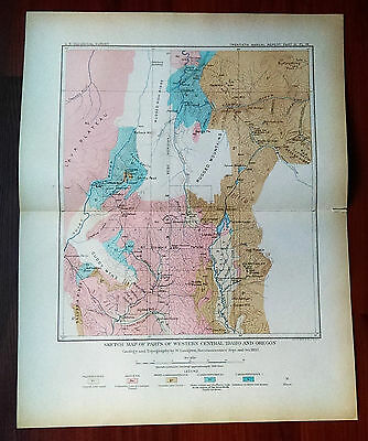 1897 USGS Sketch Map W Central Idaho and Oregon Topography Geology Lindgren
