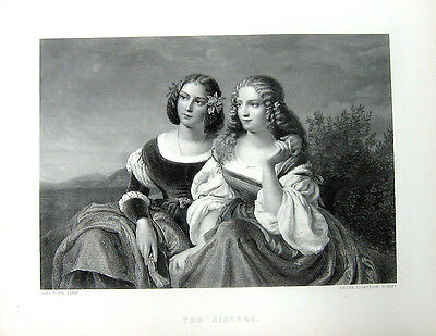 PRETTY Young GIRLS BEAUTIFUL SISTERS nice DRESSES ~ Old 1869 Art Print Engraving