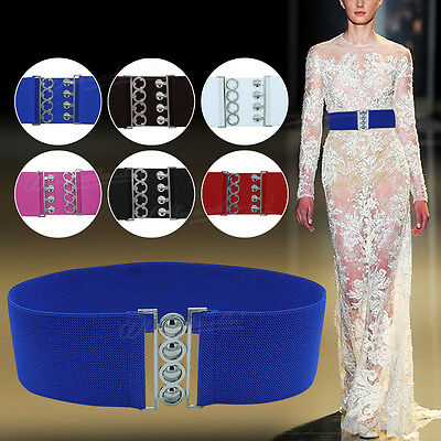 Women Corset Silver Buckle Waist Elasticated Wide Belt Fastening 50's Retro Girl