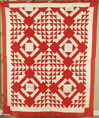 "AMAZING Vintage 1880's Red & White Diamond in a Square ""Iowa"" Antique Quilt Top!"
