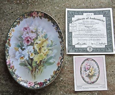 "Lena Liu Floral Cameos ""exquisite""  Eighth Issue Bradford Exchange Plate  ~ Coa"