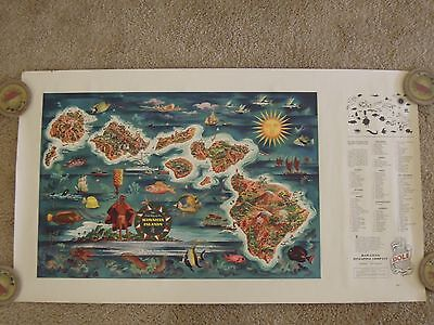 1950 ORIGINAL Travel Poster DOLE PINEAPPLE Illustrated HAWAII Map With Legend