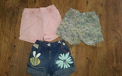 Girls Trendy Next Shorts x 3  Age 6 - 9 Months