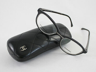 Chanel Women's Black Plastic Silver Tone Metal Clear Lens Eyeglasses Glasses