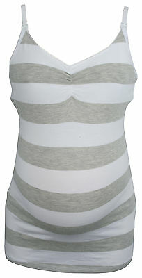 Ex Store Maternity Nursing Striped Vest Top + Hidden Support Grey