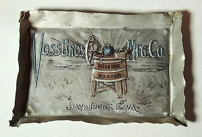 Antique vtg c1905 VOSS Bros. Ocean Wave WASHER Advertising TIP TRAY Davenport IA