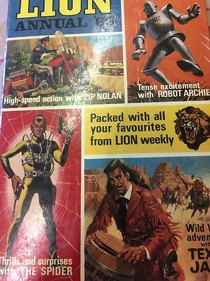Rare Vintage Book - Lion Annual 1968 - Unclipped - Robot Archie/zip Nolan/spider
