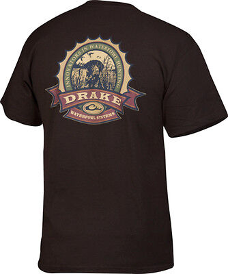 Drake Outdoors DT2060DCH Mens X-Large Waterfowl Bottle Cap S/S T-Shirt Chocolate