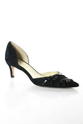 Butter Black Suede Pointed Toe D'orsay Pump Shoe Size 37 7