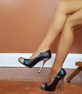 Bebe Sz 7 M Black Silver Cap Toe Leather Hidden Platform Stiletto Mary Jane