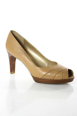 Stuart Weitzman Beige Leather Peep Toe High Heel Pump Shoe Size 7