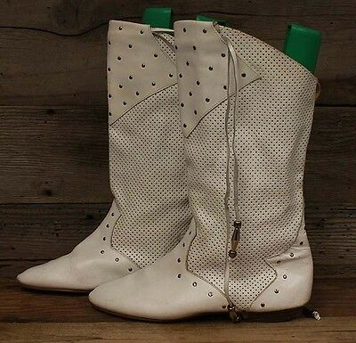 Vintage Women's White Leather Pirate/Flat Tall Boots sz 10