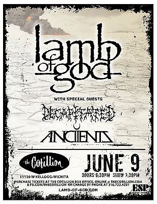 LAMB OF GOD /DECAPITATED /ANCIENTS 2013 WICHITA CONCERT TOUR POSTER-Groove Metal