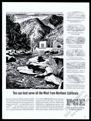 1950 Feather River California powerhouse fisherman art PG&E PGE vintage print ad