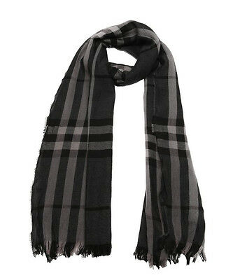 NWT BURBERRY Men's Gray Dark Charcoal GIANT CHECK WOOL/CASHMERE Crinkled SCARF