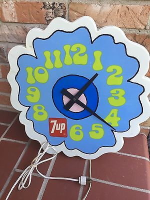 """Vintage 1973 7-Up Soda Peter Max 17"""" Lighted Clock Sign Retro Advertising Works"""