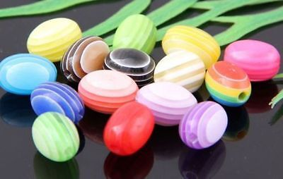 50Pcs Mixed Acrylic Ellipse Spacer Beads 10x3mm