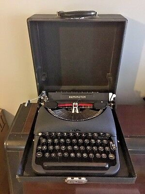 Remington Rand Model 5 Deluxe Portable Clean Unrestored Typewriter Vtg 1941 Case