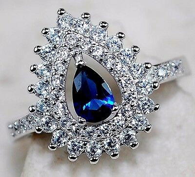 1CT Blue Sapphire & White Topaz 925 Sterling Silver Ring Jewelry Sz 8,T3-6