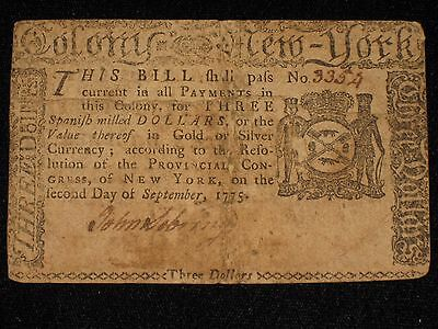 US NY Colonial Currency - 3 dollar - September 2, 1775 ** NY-179 ** (CC-208)