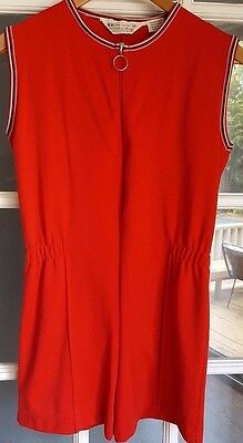 Vintage 60s 70s Kresge Gym uniform one piece Med Nylon RED romper zip up Taiwan