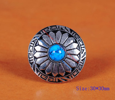 10Pc 30Mm Floral Turquoise Antique Silver Screw Back Conchos For Leathercraft