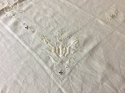 """Vtg Linen Tablecloth - Off White - Embroidered Cutwork Edge - 69"""" x 82"""""""