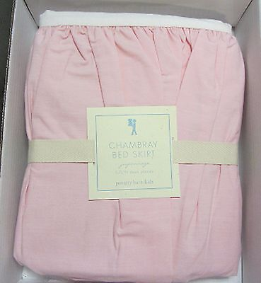 "Pottery Barn Kids Chambray Full Bed Skirt Pink 14"" Drop Nwt"