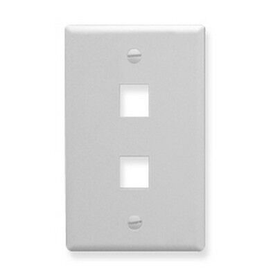 ICC IC107LF2WH Oversized 2 Port White Faceplate