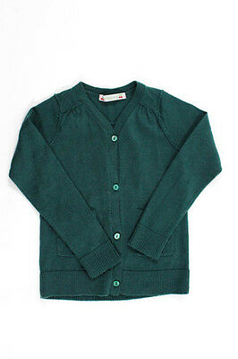 Bonpoint Girls Green Button Down Two Pocket Cardigan Sweater Size 3
