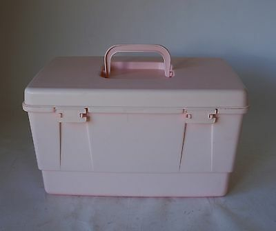 Vintage Retro 70s/80s NALLY SEWING/CRAFT SEWING BOX with insert PINK