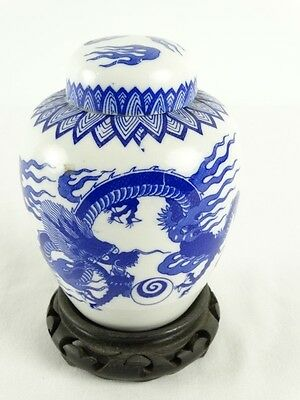 Old Chinese Blue & White Dragon Ginger pot on Carved Wood Stand China