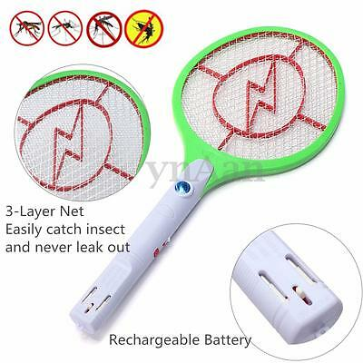 Rechargeable LED Electric Zapper Insect Pest Fly Mosquito Killer Swatter Bat NEW