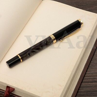 JINHAO 500 Marbled Black Gold Medium Nib Ink Fountain Pen Elegant Gift