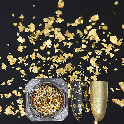 Gold Irregular Sequins Nail Flakes Glitter Paillette Powder Manicure Born Pretty