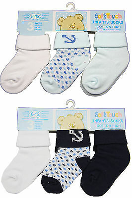 New 3 Pack Blue anchor childrens boys cotton rich socks - baby boy 0-12 months