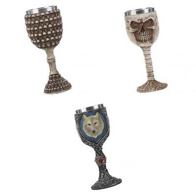 3pcs Gothic Skull Wine Goblets Resin Steampunk Collectible Decorative Crafts