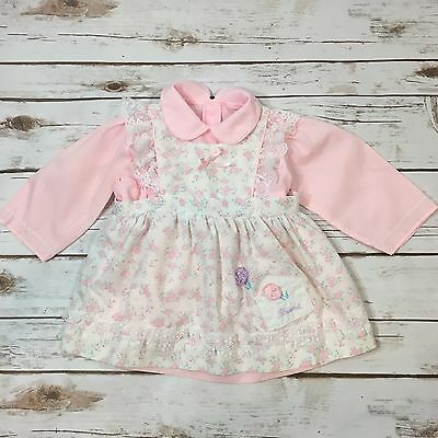 Vintage 80s Baby Girl Pink Floral Pinafore Apron Dress Fits Size 12 Months