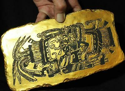 """Mayan 14th Century Feathered Serpent """"Spaceship"""" Engraved Relief ancient replica"""
