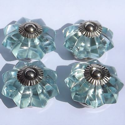 Glass Sky Blue flower chrome drawer cupboard pulls knobs x 4  FREE UK POSTAGE